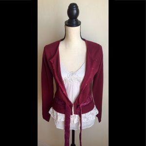 Maroon Sweater, Cream Lace Fringe & Velvet Tie, S